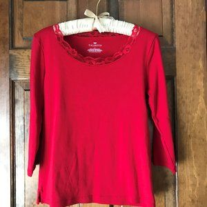 Talbots Red/Red Lace Longsleeve Tee Small